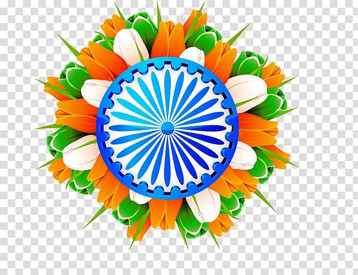 Orange, green, and white tulip flower illustration, Indian.