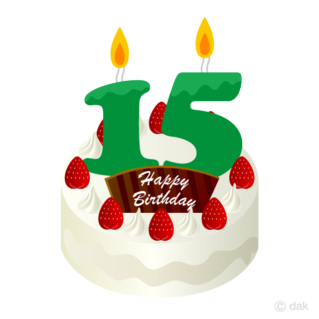 Free 15 Years Old Candle Birthday Cake Clipart Image|Illustoon.
