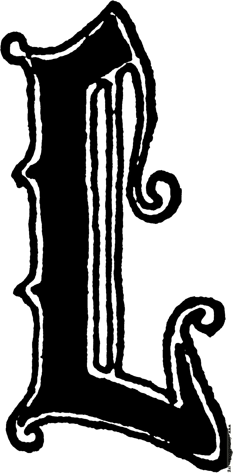 """Calligraphic letter """"L"""" in 15th century gothic style [image."""