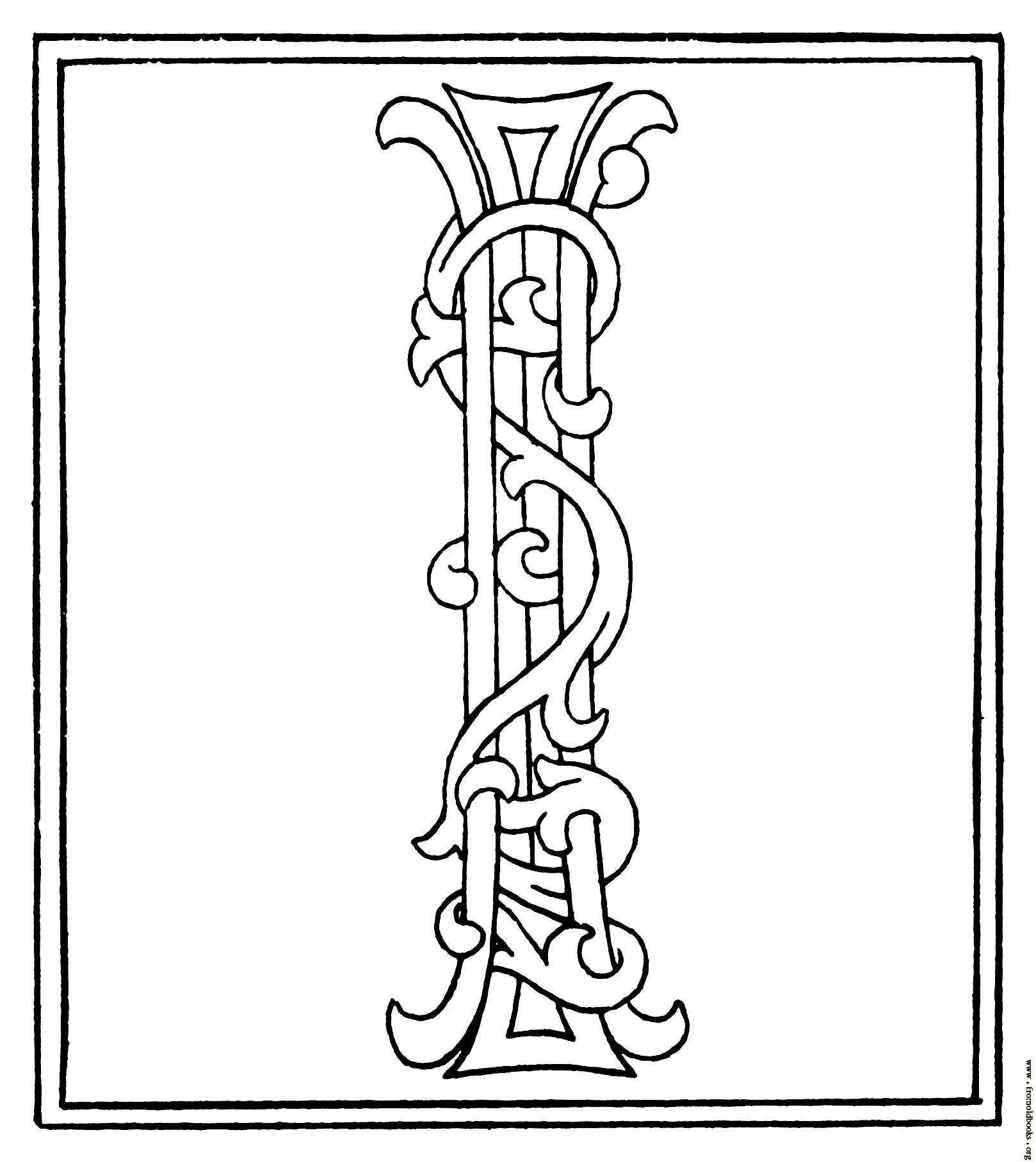 clipart: initial letter I from late 15th century printed book.