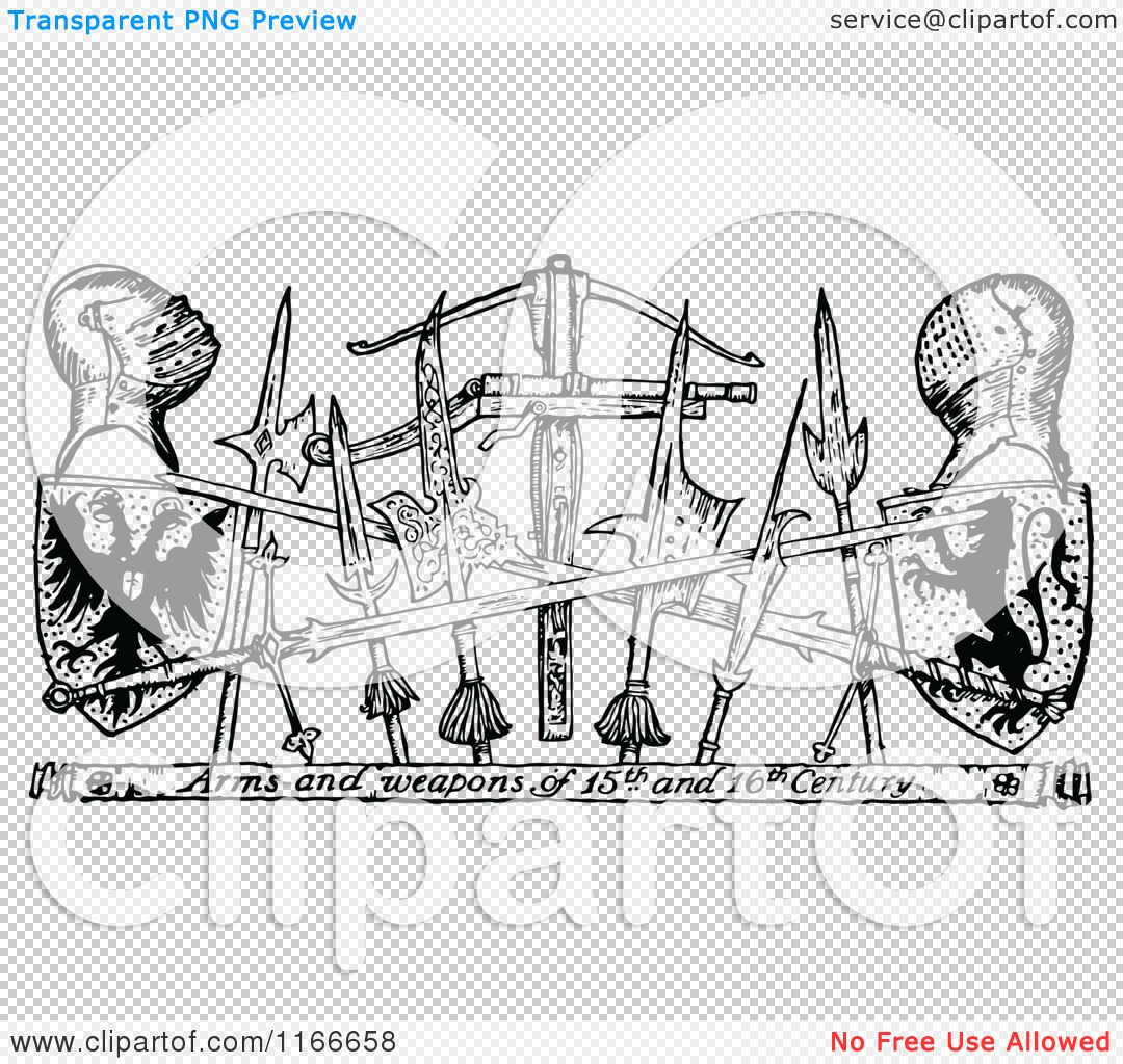 Clipart of Retro Vintage Black and White Arms and Weapons of the.