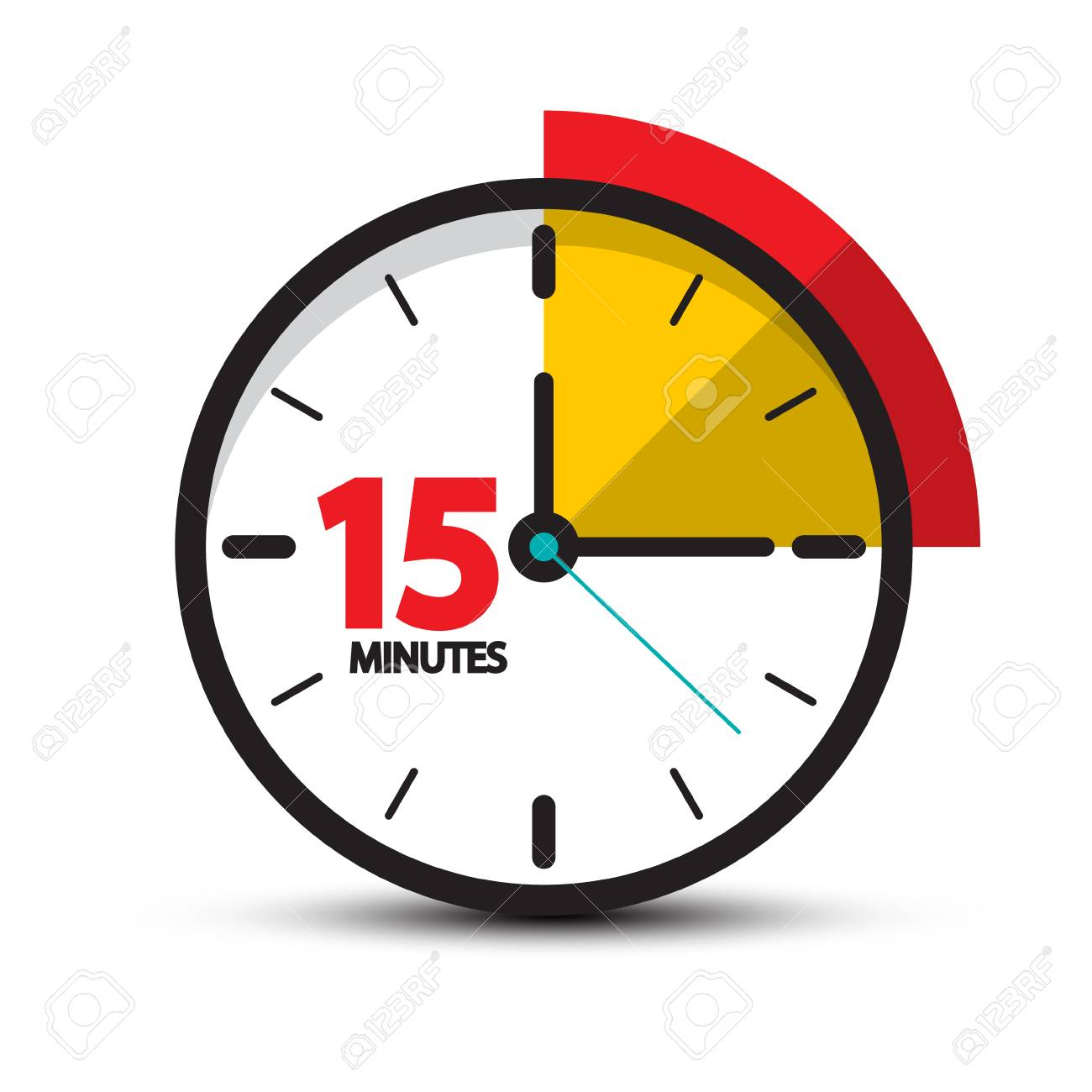 15 Minutes Clock Icon. Vector Fifteen Minute Symbol Isolated...