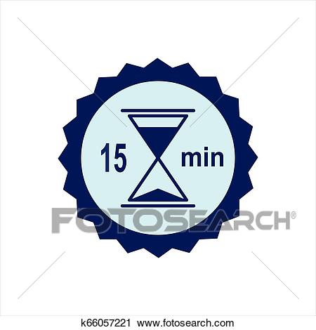 Hourglass with 15 minutes past. Clipart.