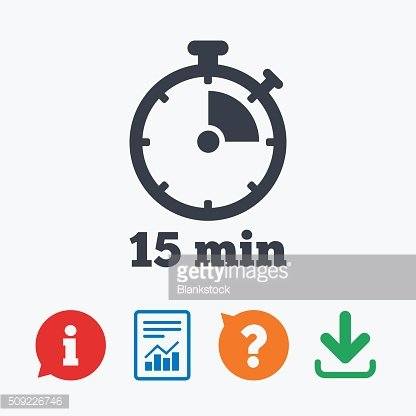 Timer Sign 15 Minutes Stopwatch premium clipart.
