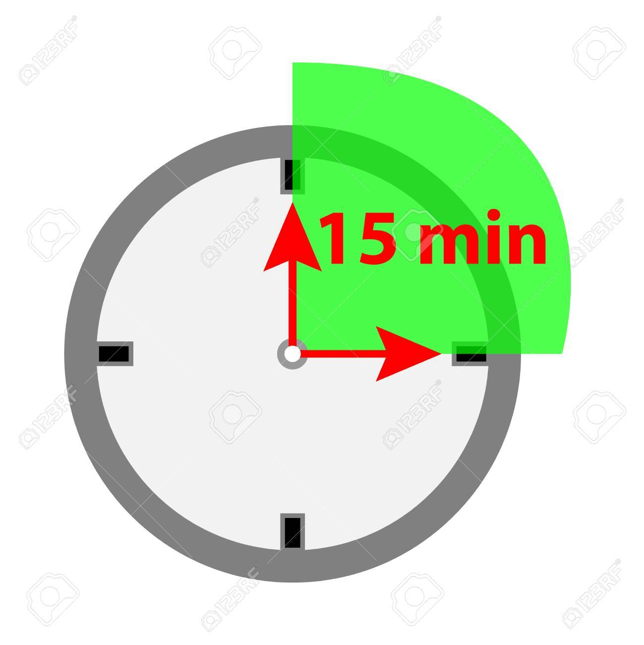 Timer icon 15 minutes isolated on white background » Clipart Portal.