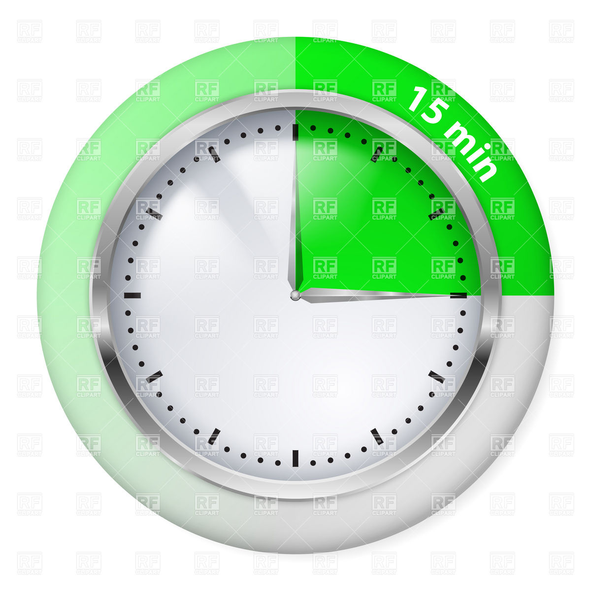 15 minutes green chronometer icon Stock Vector Image.