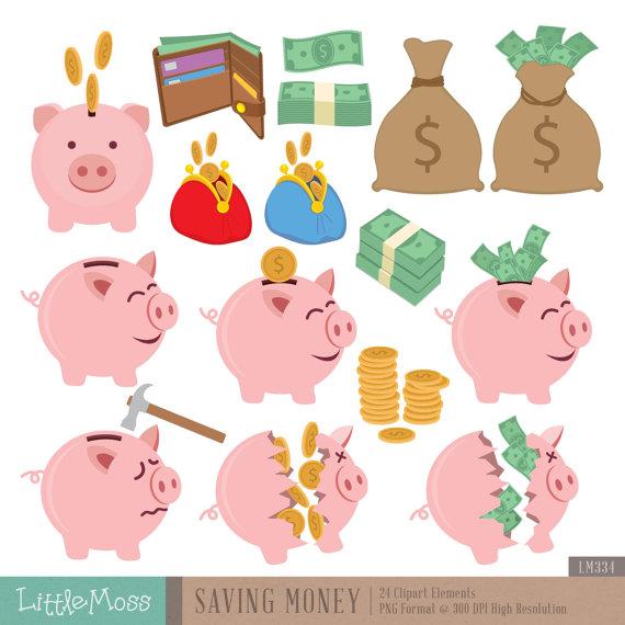 Saving Money Digital Clipart.