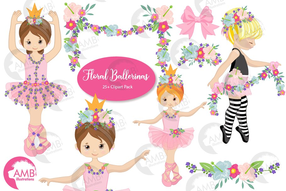 Floral Ballerina Clipart AMB.