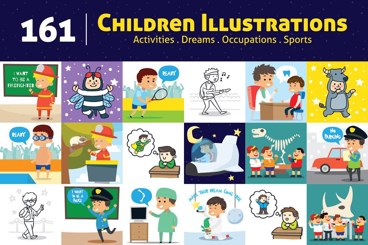 150+ Kids Activities Clipart Bundle ~ Illustrations ~ Creative Market.