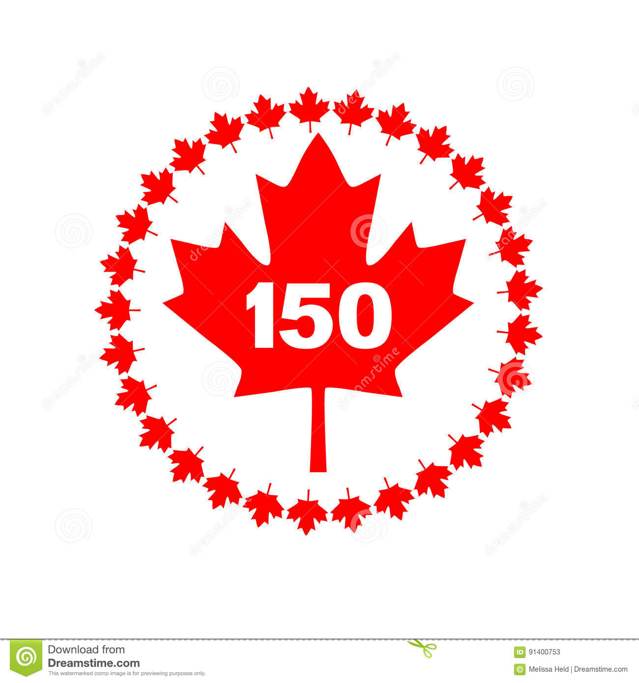 Maple Leaf 150 Canada Graphic Stock Illustration.