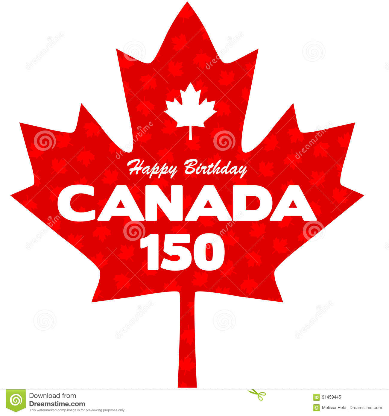 Happy 150 Birthday Canada Graphic Stock Vector.