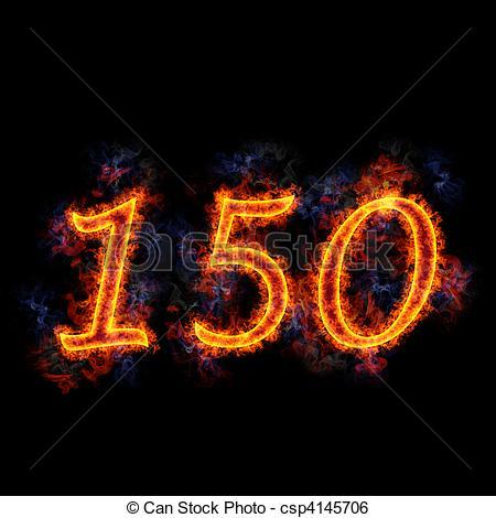 Fiery text \'150\'..