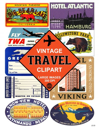 Luggage Label Travel Sticker Clipart Large Image Digital Download Clip Art  #20.