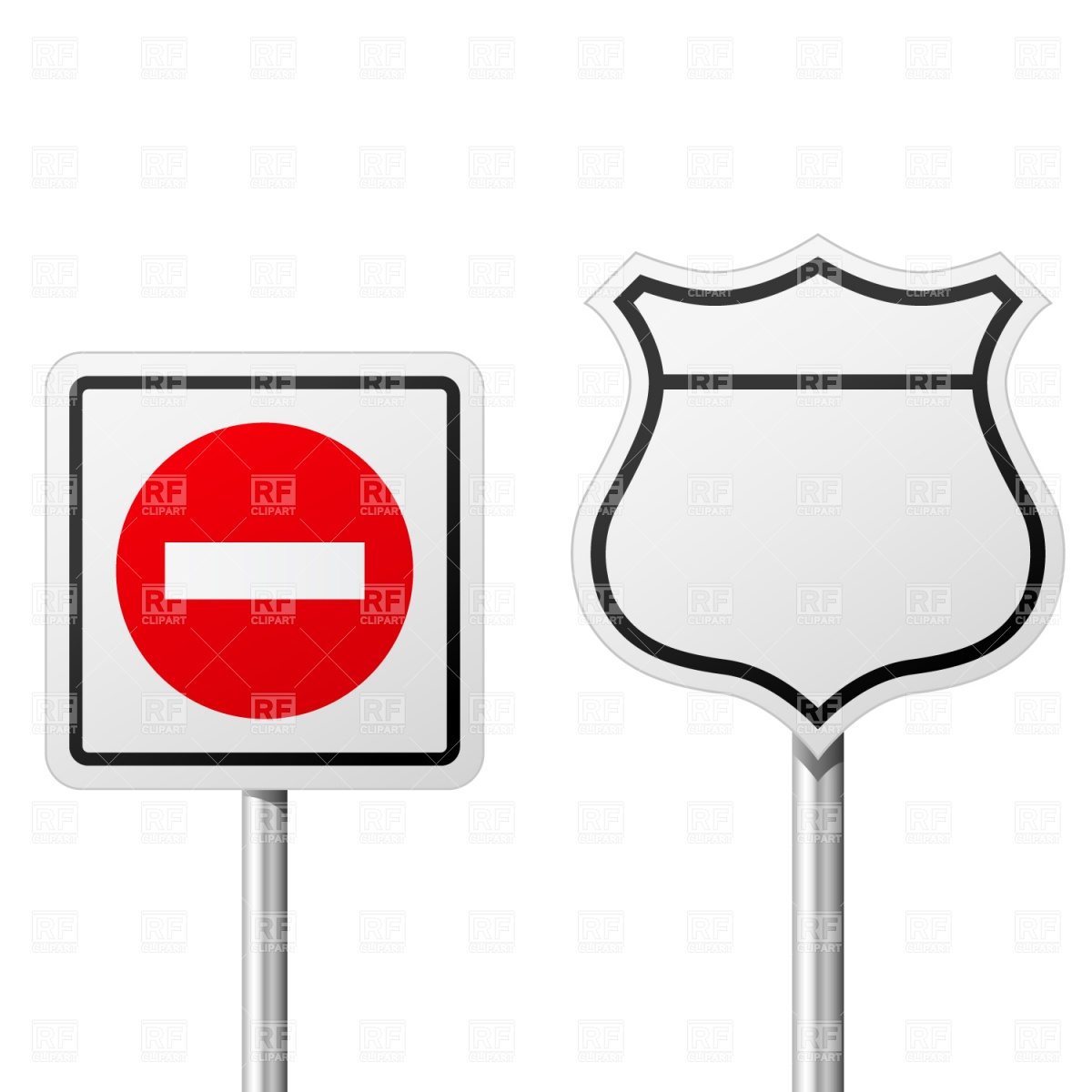 Do Not Enter and route sign Vector Image #1504.