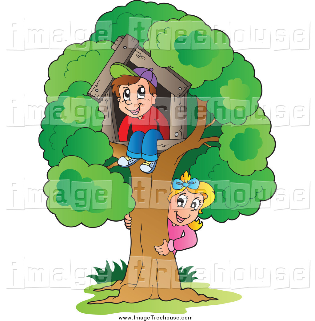 Clipart of a White Kids Playing at Their Tree House by visekart.
