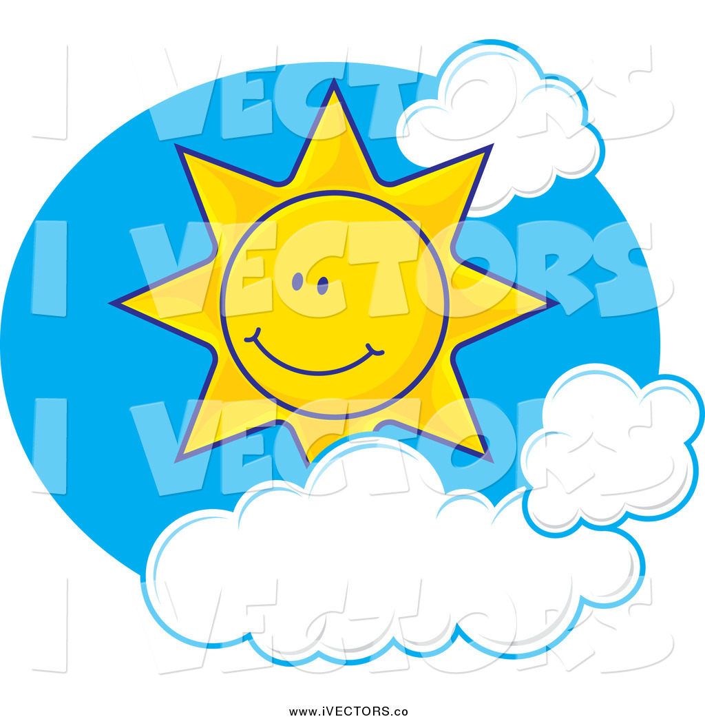 Vector Graphic of a Happy Sun with Clouds in a Blue Sky Oval by.
