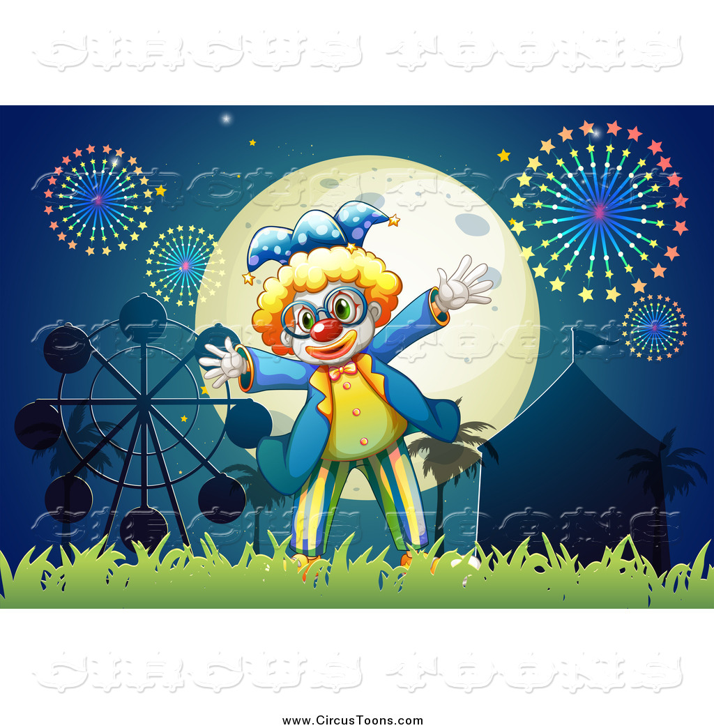Circus Clipart of a Clown Under a Full Moon and Carnival Fireworks.