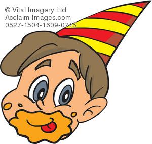 Clipart Illustration of a Child Celebrating a Birthday.