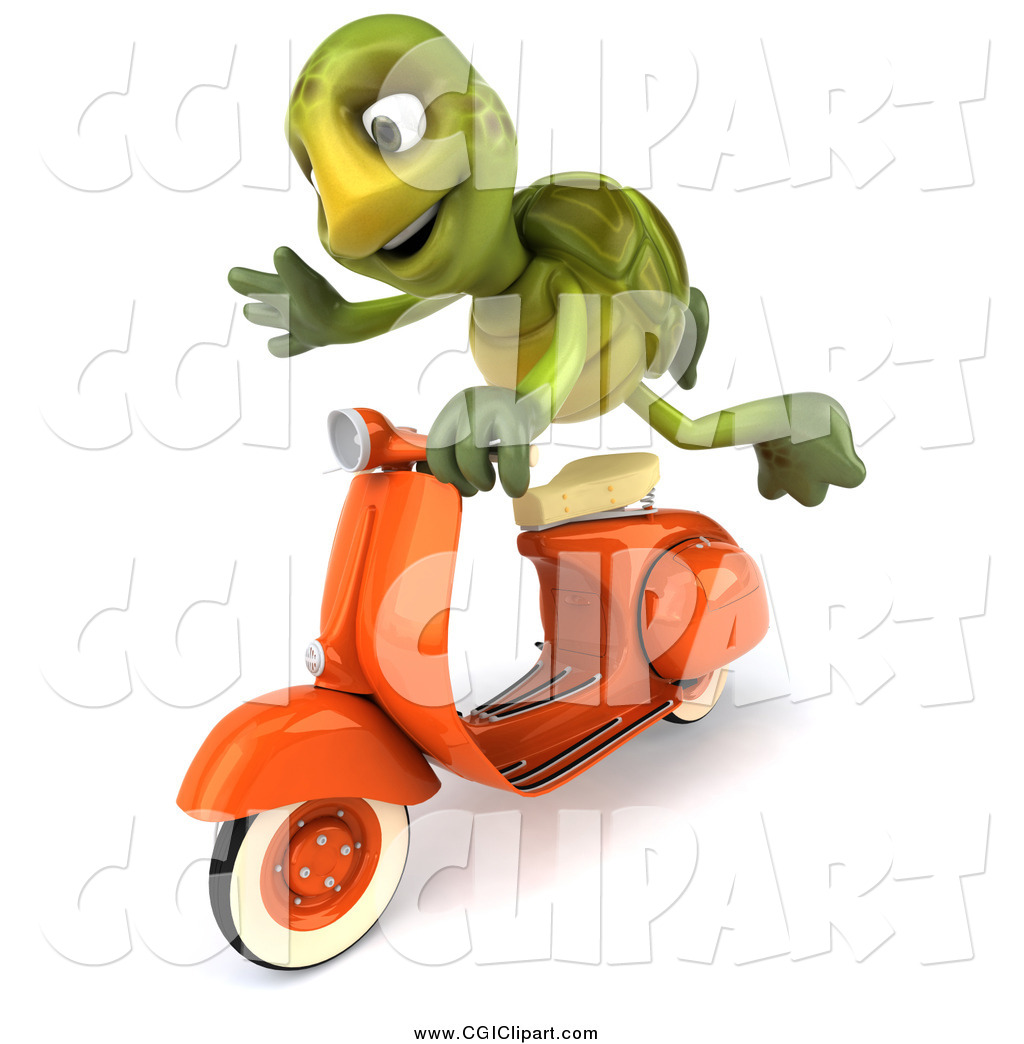 Clip Art of a 3d Green Tortoise Flying on a Scooter by Julos.