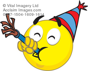 Clipart Illustration of a Partying Smiley Face.