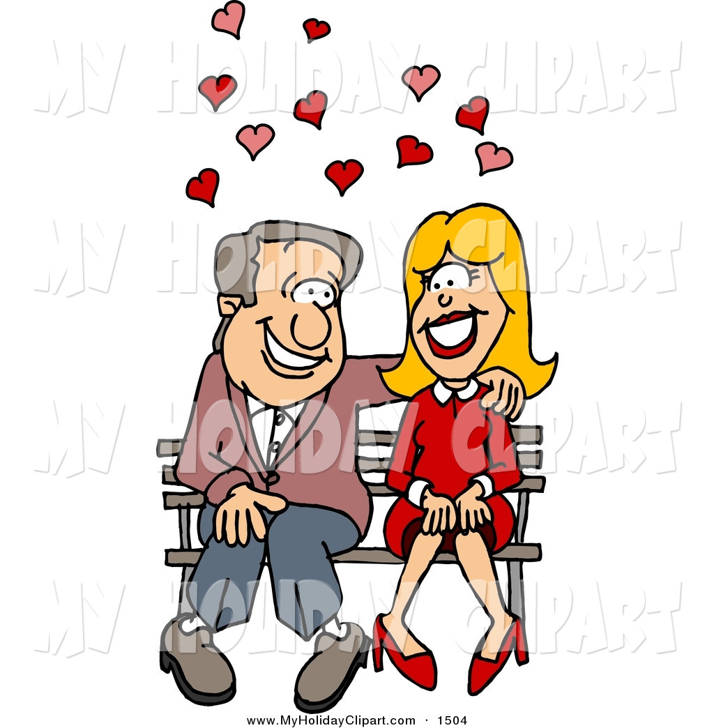 Clip Art of a Caucasian Couple in Love, Sitting on a Bench with.