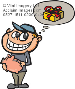 Clipart Illustration of a Boy Thinking About a Gift.