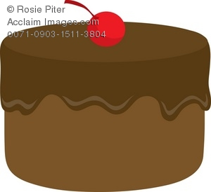 Clipart Illustration of a Chocolate Cake With Vanilla Frosting.