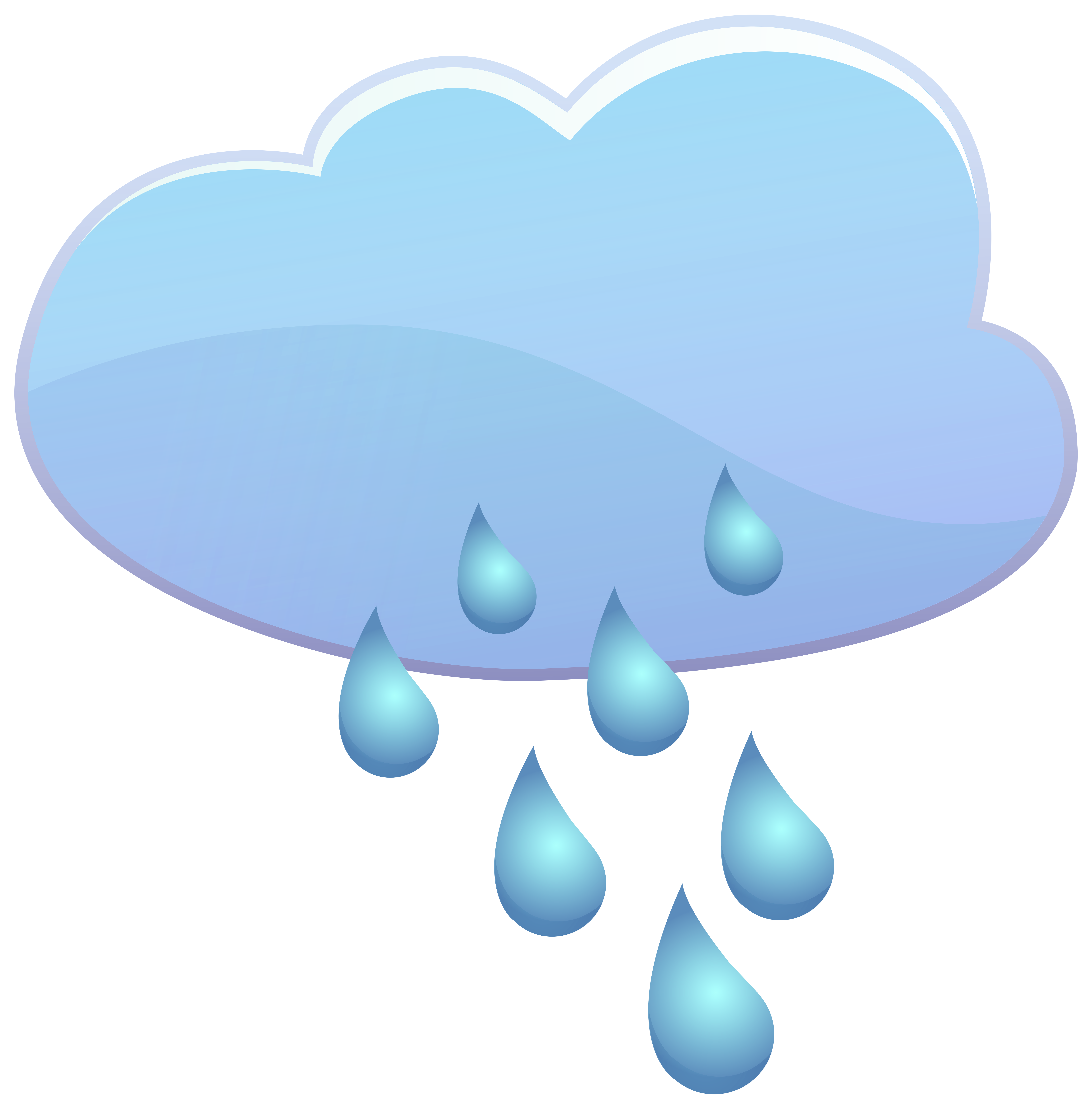 Cloud and Rain Drops Weather Icon PNG Clip Art.