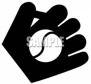 Clipart of a Silhouette of a Baseball And Glove.