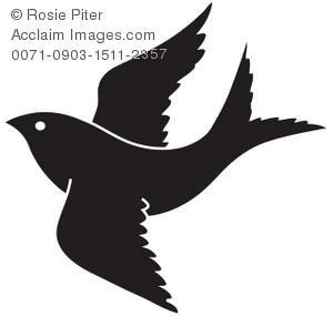 Clipart Illustration of a Bird in Flight.
