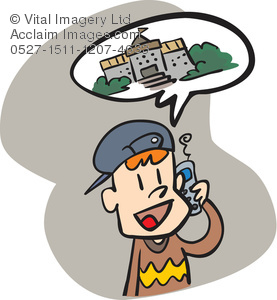 Clipart Illustration of a Boy Talking on the Phone.