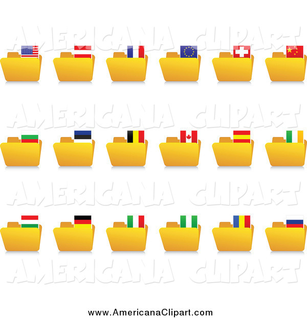 Americana Vector Clip Art of Yellow Folders with National Flag.