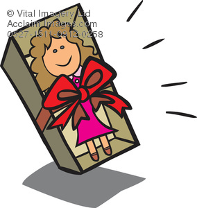 Clipart Illustration of a Doll in a Gift Box.