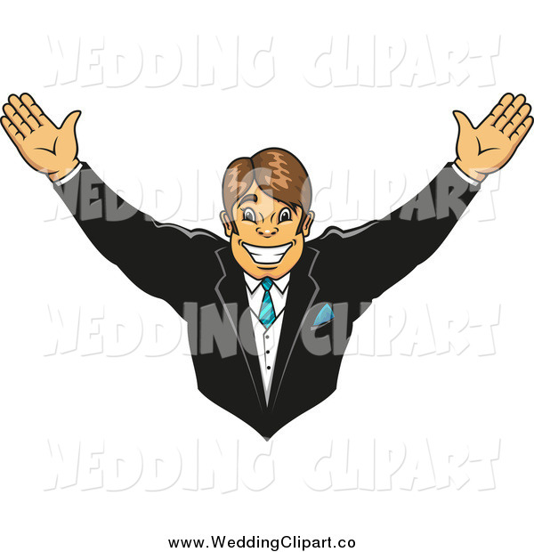 Vector Marriage Clipart of a Cheering Happy Groom with His Arms up.