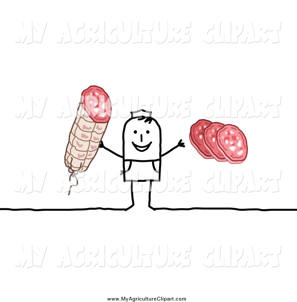 Vector Agriculture Clipart of a Stick Butcher Man Holding Meat by.