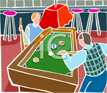 Two Men Playing Pool in a Pool Hall or Sports Bar.