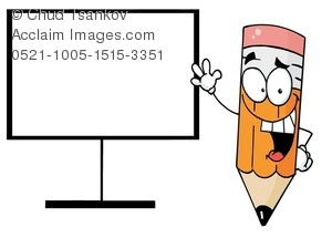 A Smiling and Waving Pencil Near a Blank Screen Clipart Image.