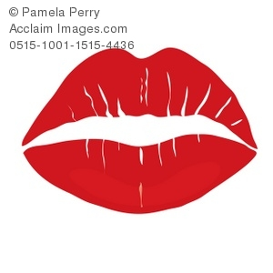 Clip Art Illustration of a Red Lipstick Kiss.