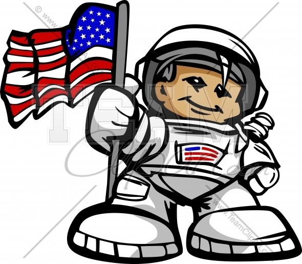 Happy Astronaut Spaceman with American Flag Cartoon Vector.