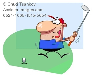 Clipart Image of A Man Hitting a Golf Ball With a Club.