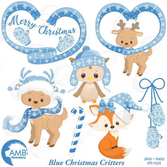 Christmas Forest critter Clipart, Reindeer Clipart, Christmas Owl.