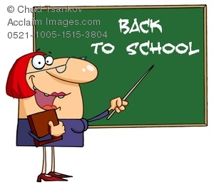 Clipart Image of a Teacher in a Classroom Pointing To a Chalkboard.
