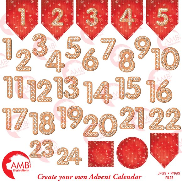 Gingerbread Number Clipart, 1527 ~ Illustrations on Creative Market.