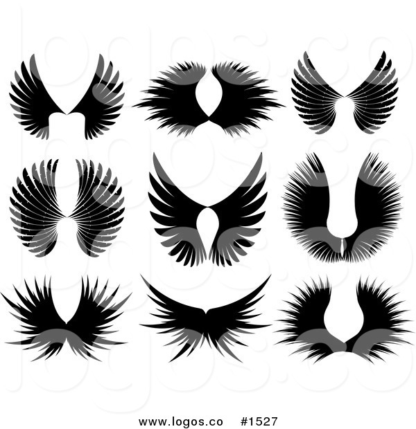Royalty Free Vector Black Majestic Wing Silhouettes Logos by KJ.