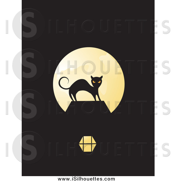 Clipart of a Scared Black Cat Silhouetted Against a Full Moon on.