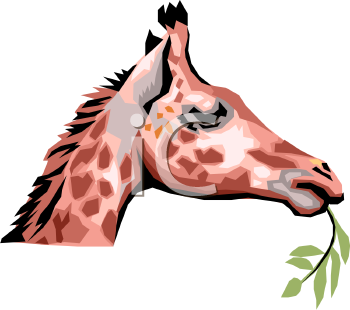 Realistic Style Baby Giraffe Eating a Branch.