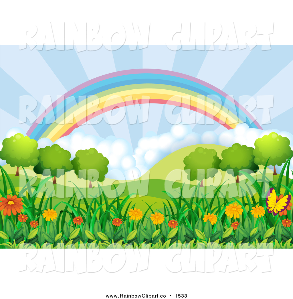 Vector Clip Art of a Rainbow and Sun Shine over a Hilly Landscape.