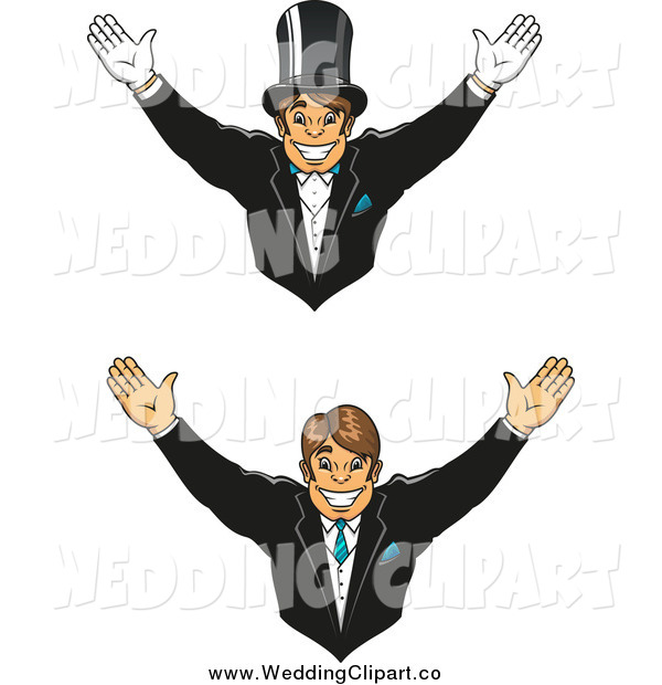 Vector Marriage Clipart of a Happy Groom, Shown Wearing a Top Hat.