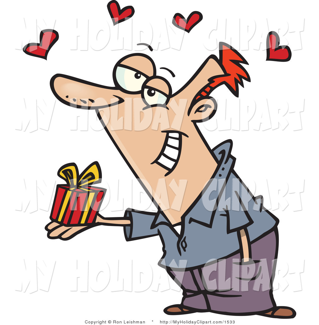 Clip Art of a Romantic Caucasian Man Holding a Valentine's Day.