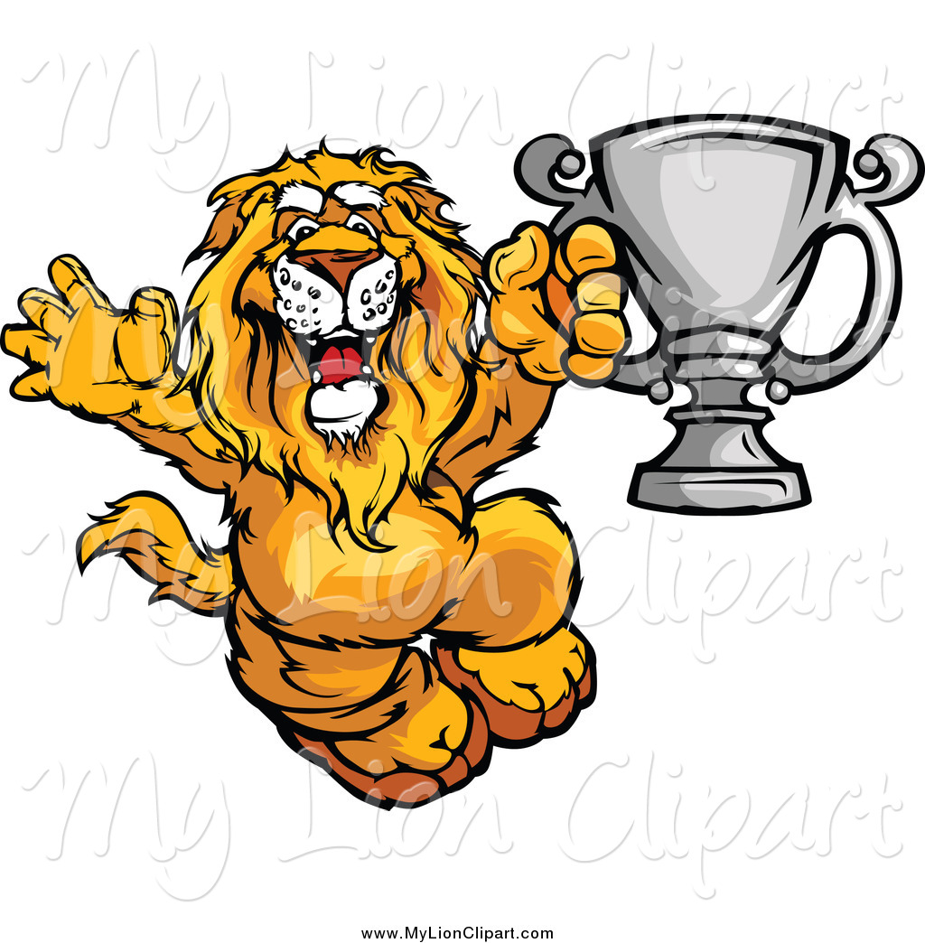 Clipart of a Victorious Lion Holding a Silver Trophy by Chromaco.